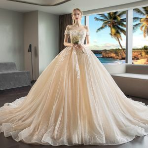 Luxury / Gorgeous Champagne Wedding Dresses 2018 Ball Gown Appliques Lace Off-The-Shoulder Short Sleeve Backless Royal Train
