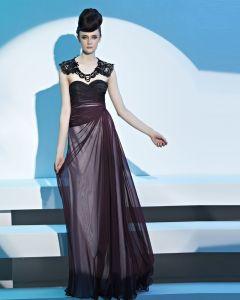 Vestidos De Noche De La Mujer Del Tencel Bordado Rebordear La Longitud Del Piso Novia