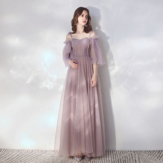 Elegante Lavendel Abendkleider 2019 A Linie Spaghettiträger Abnehmbar 3/4 Ärmel Perlenstickerei Lange Rüschen Rückenfreies Festliche Kleider