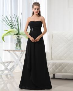 Mode A-ligne De Robe De Demoiselle D'honneur De Longueur Mousseline De Soie Sans Bretelles