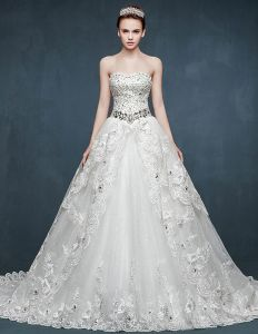 2015 Bridal Trailing Romantic Vintage Wedding Dress