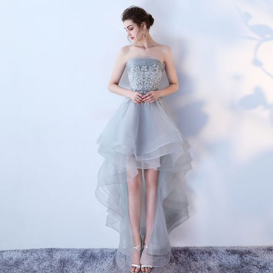 Chic / Beautiful Grey Summer Cocktail Dresses 2019 A-Line / Princess Strapless Sleeveless Appliques Lace Asymmetrical Ruffle Backless Formal Dresses