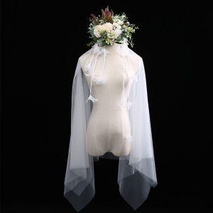 Moda Blanco Cortos Velo de novia Pluma Tassel Gasa Boda Accesorios 2019