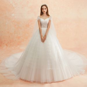 Modest / Simple Ivory Wedding Dresses 2019 A-Line / Princess Square Neckline Short Sleeve Backless Cathedral Train Ruffle