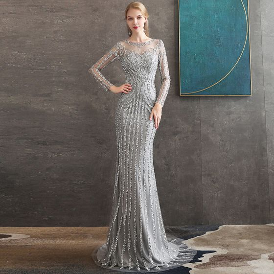 High-end Grey See-through Evening Dresses  2020 Trumpet / Mermaid Scoop Neck Long Sleeve Sequins Beading Sweep Train Formal Dresses