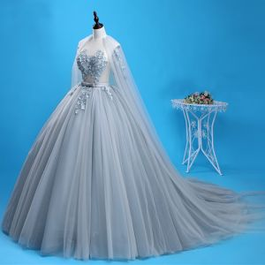 Chic / Beautiful Grey Prom Dresses 2018 Ball Gown Appliques Pearl Bow Scoop Neck Backless Sleeveless Watteau Train Formal Dresses