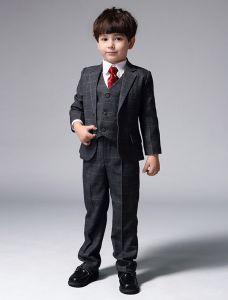 Jungen Grauen Anzügen Mit Roter Krawatte Klagen Der Kinder 4 Sätze