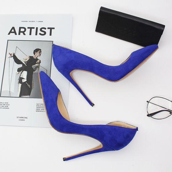 Modest / Simple Royal Blue Street Wear Pumps 2020 12 cm Stiletto Heels Pointed Toe Pumps