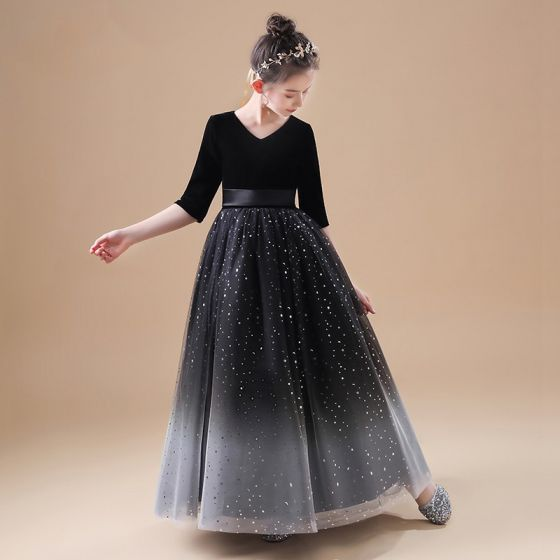 Chic / Belle Noire Velour Robe Ceremonie Fille 2020 Princesse V-Cou 1/2 Manches Ceinture Étoile Paillettes Longue Volants