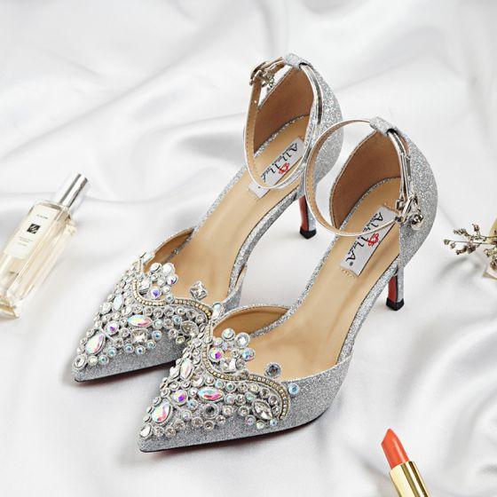 Glittrande Silver Brudskor 2018 Glittriga / Glitter Rhinestone Paljetter Spänne 9 cm Stilettklackar Spetsiga Bröllop Pumps