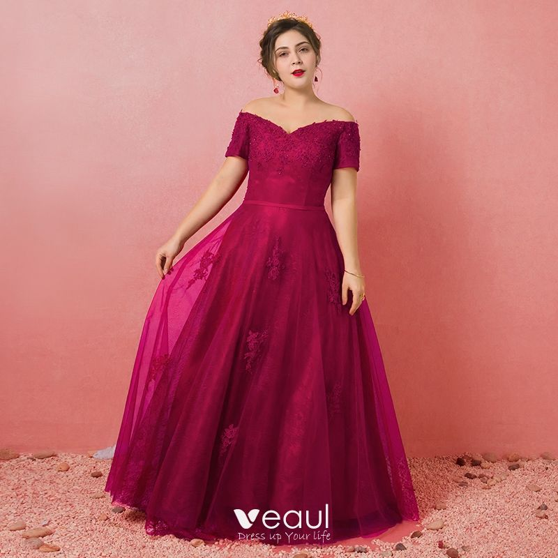 Modest / Simple Burgundy Plus Size Evening Dresses 2018 A-Line / Princess  Tulle Short Sleeve Appliques Backless Beading Strapless Evening Party  Formal ...