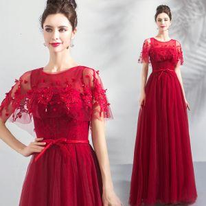 Hermoso Borgoña Vestidos de gala Con Chal 2019 A-Line / Princess Scoop Escote Apliques Con Encaje Rebordear Cinturón Largos Ruffle Sin Espalda Vestidos Formales