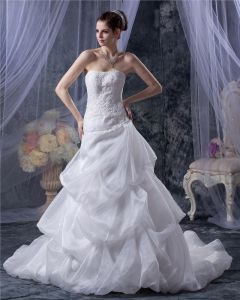Organza Satin Applique Ruffles Beading Court A-Line Bridal Gown Wedding Dress