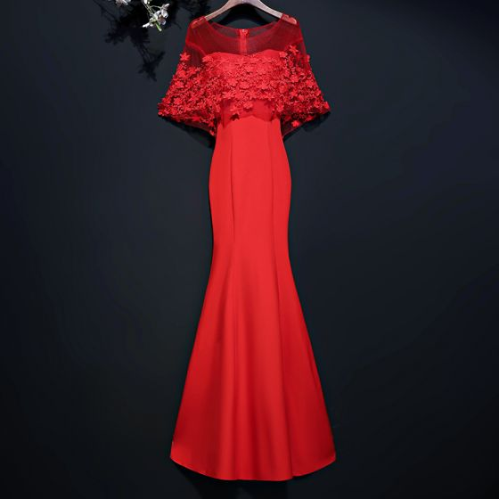 Chic / Beautiful Red Evening Dresses  2017 Trumpet / Mermaid Lace Flower Scoop Neck 1/2 Sleeves Floor-Length / Long Evening Party