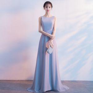 Proste / Simple Różowy Perłowy Sukienki Dla Druhen 2018 Princessa Kokarda Wycięciem Bez Pleców Bez Rękawów Trenem Sweep Sukienki Na Wesele