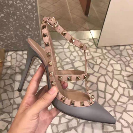 Fashion Grey Street Wear Rivet Womens Sandals 2020 Leather 10 cm Stiletto Heels Pointed Toe Sandals