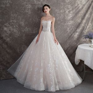 Bling Bling Champagne Outdoor / Garden Wedding Dresses 2019 A-Line / Princess Spaghetti Straps Sleeveless Backless Glitter Tulle Beading Floor-Length / Long Ruffle