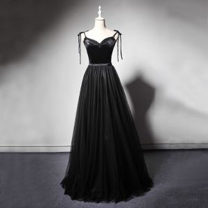 Best Black Evening Dresses  2019 A-Line / Princess Spaghetti Straps Sleeveless Sash Beading Floor-Length / Long Ruffle Backless Formal Dresses