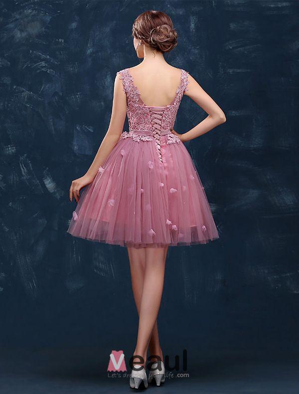 2015 Sweet Girl Schultern V-ausschnitt Spitze & Tüll Cocktailpartykleid