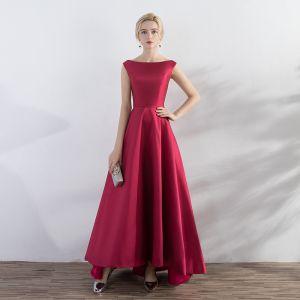 Chic / Belle Rouge Robe De Soirée 2017 Princesse Encolure Carrée Sans Manches Dos Nu Bretelles croisées Longueur Cheville Soirée