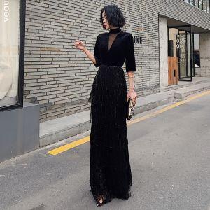 Vintage / Retro Black See-through Evening Dresses  2020 Sheath / Fit High Neck 3/4 Sleeve Sequins Tassel Floor-Length / Long Formal Dresses