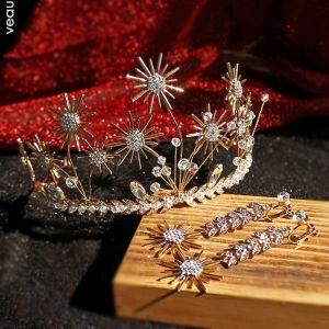 Schöne Gold Brautschmuck 2019 Legierung Strass Blumen Kristall Diadem Ohrringe Hochzeit Brautaccessoires