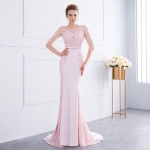 Chic / Beautiful Candy Pink Evening Dresses  2018 Trumpet / Mermaid Lace Flower Beading Bow Scoop Neck 1/2 Sleeves Backless Sweep Train Formal Dresses