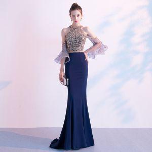 High-end Navy Blue Evening Dresses  2020 Trumpet / Mermaid Scoop Neck Beading Crystal Sequins Short Sleeve Sweep Train Formal Dresses