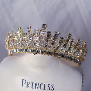 Najpiękniejsze / Ekskluzywne Złote Tiara Ozdoby Do Włosów Ślubne 2020 Stop Rhinestone Ślub Akcesoria