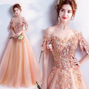 Chic / Beautiful Orange Prom Dresses 2018 A-Line / Princess Off-The-Shoulder Short Sleeve Appliques Lace Rhinestone Pearl Floor-Length / Long Ruffle Backless Formal Dresses