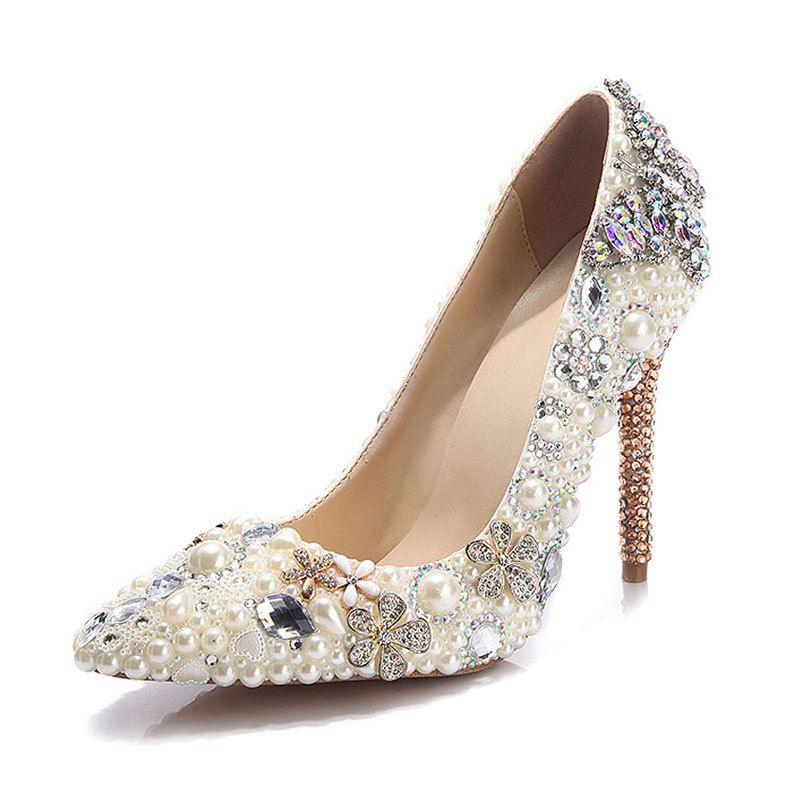 Elegant Ivory Crystal Wedding Shoes 2020 Leather Pearl Rhinestone 11 Cm Stiletto Heels Pointed Toe Wedding Pumps