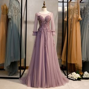 Elegant Lilac Prom Dresses 2020 A-Line / Princess Scoop Neck Beading Lace Crystal Long Sleeve Backless Sweep Train Formal Dresses