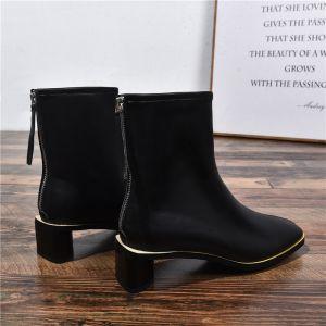 Fine Svart Casual Kvinners støvler 2020 Lær 4 cm Stiletthæler Spisse Boots
