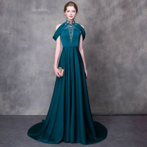 Modern / Fashion Ink Blue Evening Dresses  2018 A-Line / Princess High Neck Strapless Sleeveless Beading Rhinestone Sash Court Train Ruffle Backless Formal Dresses