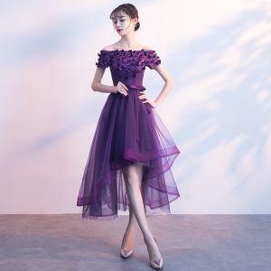 Schöne Violett Cocktailkleider 2017 A Linie Schleife Applikationen Kristall Off Shoulder Rückenfreies Asymmetrisch Festliche Kleider