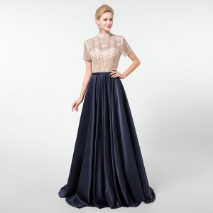 Vintage / Retro Navy Blue Handmade  Beading Evening Dresses  2020 A-Line / Princess High Neck Rhinestone Crystal Sequins Short Sleeve Floor-Length / Long Formal Dresses