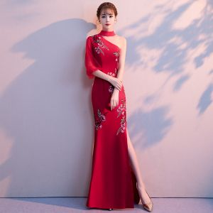 Chinese style Burgundy Evening Dresses  2018 Trumpet / Mermaid High Neck 3/4 Sleeve Embroidered Split Front Floor-Length / Long Backless Formal Dresses