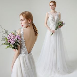 Champagne Outdoor / Garden Light Wedding Dresses 2020 A-Line / Princess See-through Deep V-Neck Sleeveless Backless Appliques Lace Beading Pearl Sash Sweep Train Ruffle