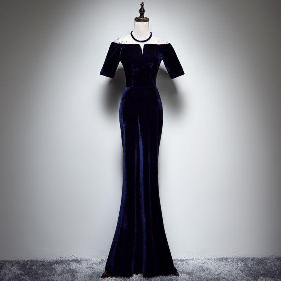 Chic / Beautiful Navy Blue Suede See-through Evening Dresses  2019 Trumpet / Mermaid Scoop Neck Short Sleeve Rhinestone Floor-Length / Long Formal Dresses