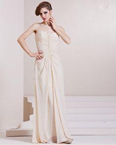 Elastisk Silk Som Satin Charmeuse Gasbinda Paljetter Rufsa Juvel Armlos Golv Langd Plisserad Aftonklänningar