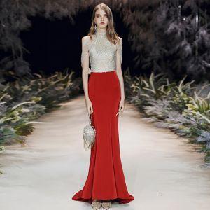 Encantador Rojo Vestidos de noche 2020 Trumpet / Mermaid Cuello Alto Rebordear Lentejuelas Sin Mangas Sin Espalda Colas De Barrido Vestidos Formales
