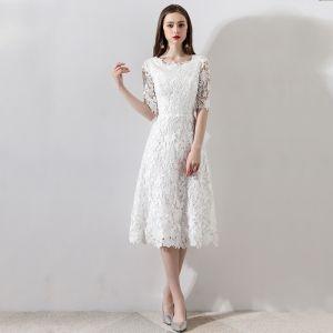 Mooie / Prachtige Witte Huwelijk 2018 A lijn U-hals Lace-up 1/2 Mouwen Rits Omhoog Korte Trouwjurken