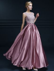 Elegantes Sleeveless Abendkleider 2016 A-line Rundhalsausschnitt spitze Rüsche Satin Langen Abendkleid Mit Schleife-schärpe