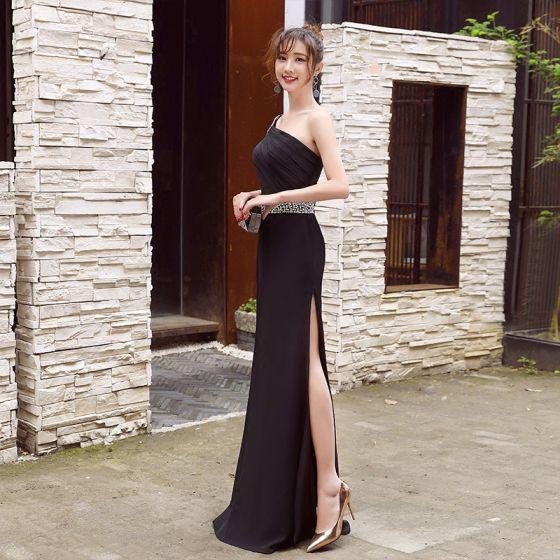 Sexy Noir Robe De Ceremonie 2017 Empire Noeud Paillettes Fendue devant Une épaule Longue Robe De Soirée
