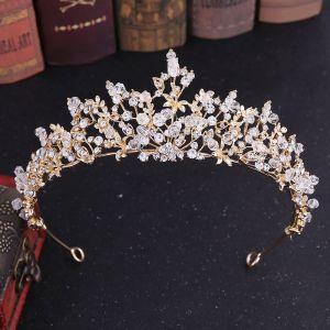 Klassisch Gold Diadem Haarschmuck Braut  2020 Legierung Perlenstickerei Strass Hochzeit Brautaccessoires