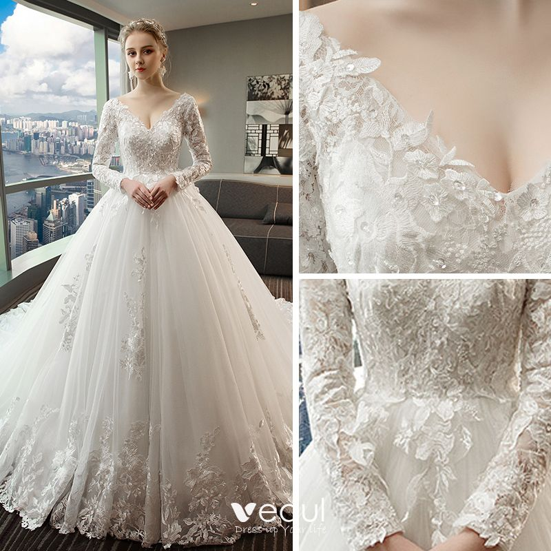 White Wedding Video: Chic / Beautiful White Wedding Dresses 2018 Ball Gown Lace