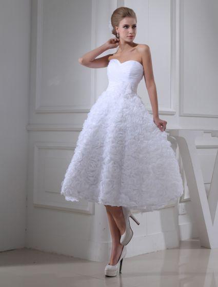Mignon A-ligne De Fleurs Chérie Bustier À Volants Robe De Mariée Courte Robe De Mariage