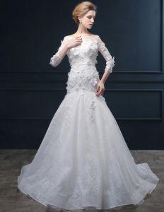 Robes De Mariée Décolleté Carré Main Fleurs De Dentelle Trompette / Sirène