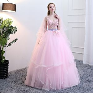 Chic / Beautiful Candy Pink Quinceañera Prom Dresses 2018 Ball Gown Appliques Pearl Sash Cascading Ruffles V-Neck Sleeveless Backless Floor-Length / Long Formal Dresses
