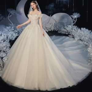 Romantic Champagne Bridal Wedding Dresses 2020 Ball Gown Off-The-Shoulder Short Sleeve Backless Glitter Tulle Appliques Lace Beading Cathedral Train Ruffle